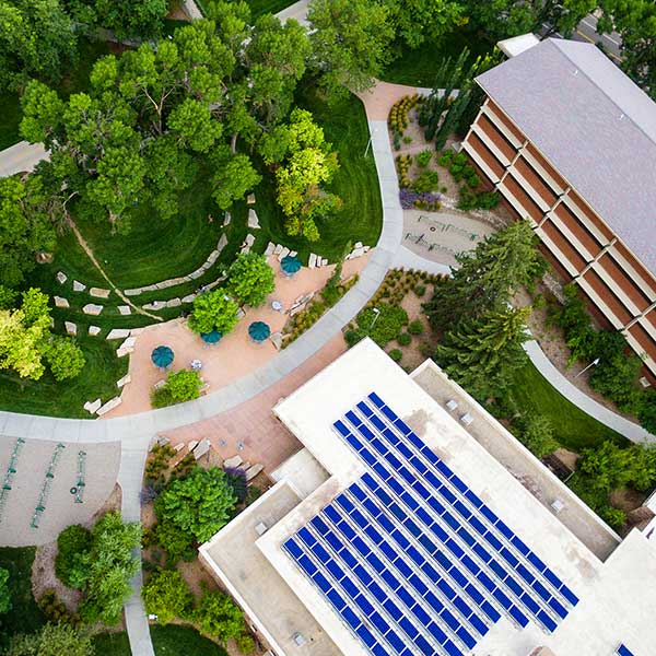 An aerial shot of Braiden Hall